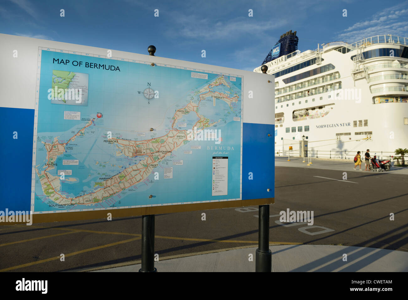 Bermuda King's Wharf dockyard with map and cruise ship - Stock Image