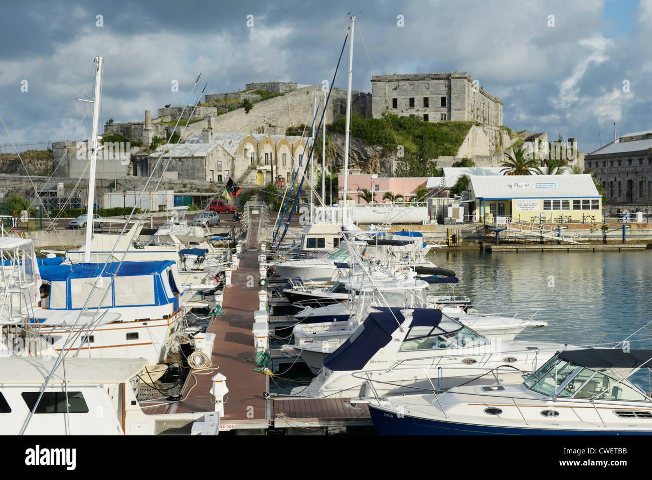 Royal Navy Dockyard Marina, Bermuda - Stock Image