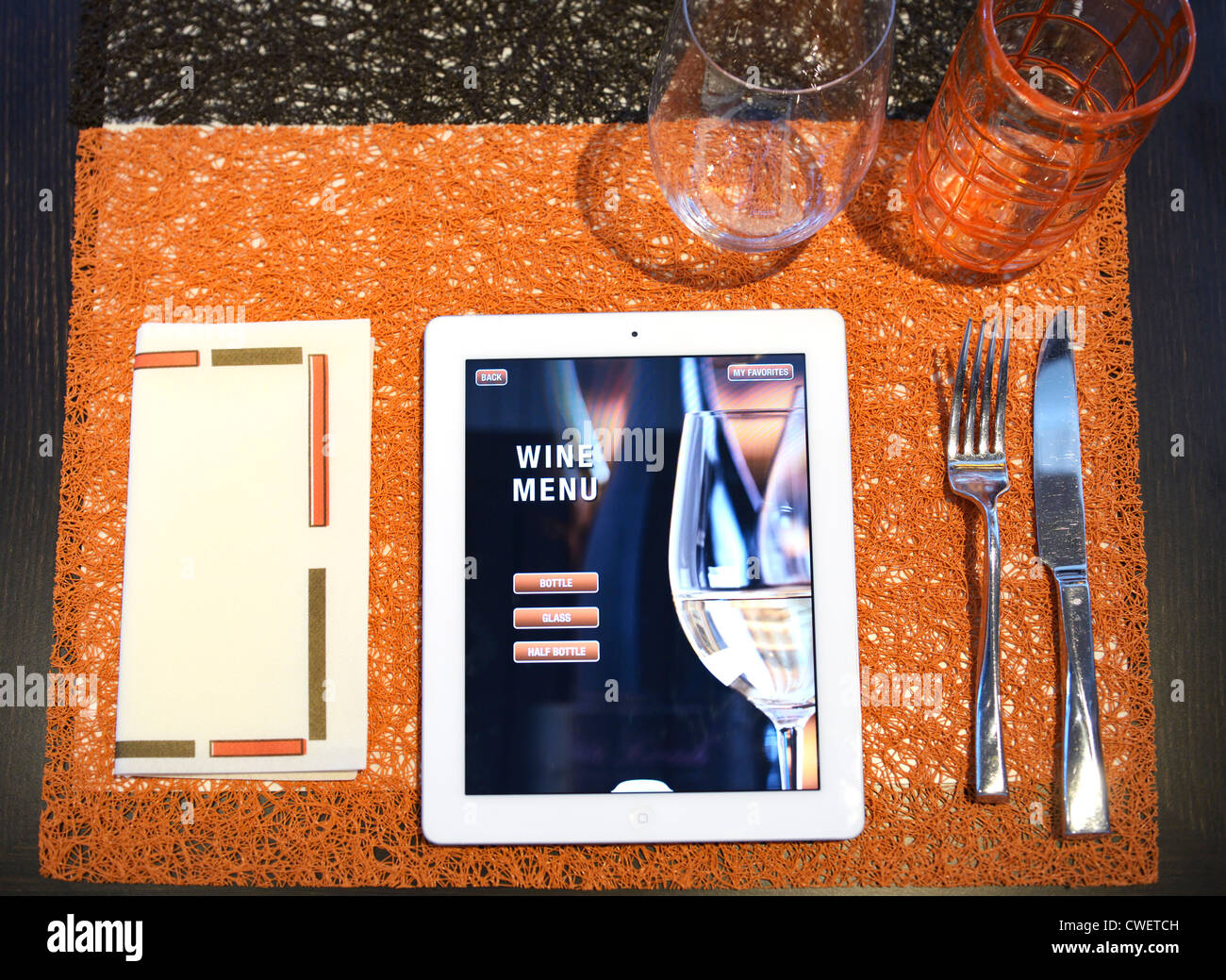 A restaurant menu on iPADs.  The page selected is the homepage for the wine menu. - Stock Image