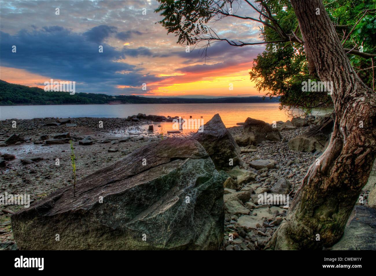 sunset on the hudson river, hudson valley - Stock Image