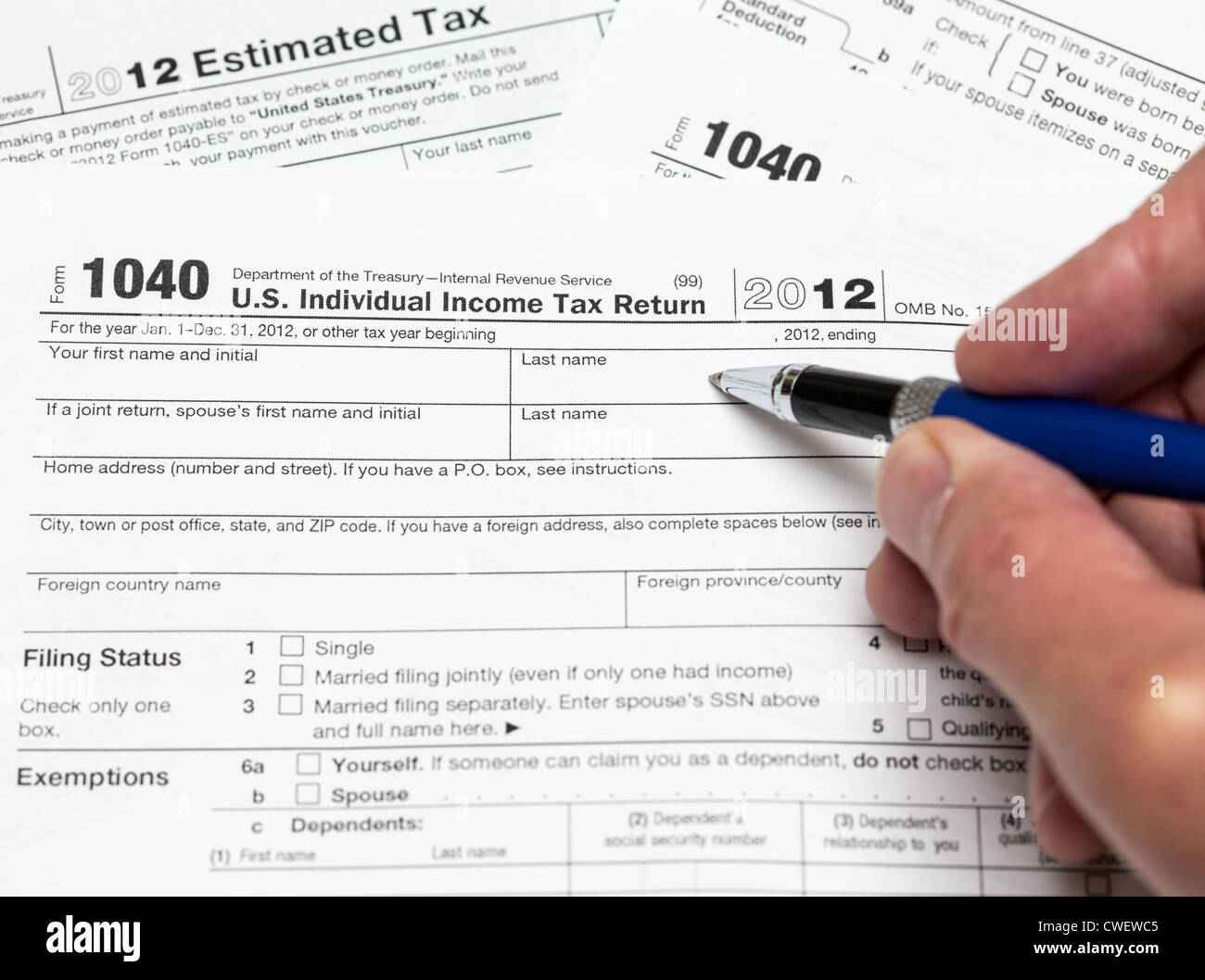 Tax Form 1040 For Tax Year 2012 For Us Individual Tax Return With