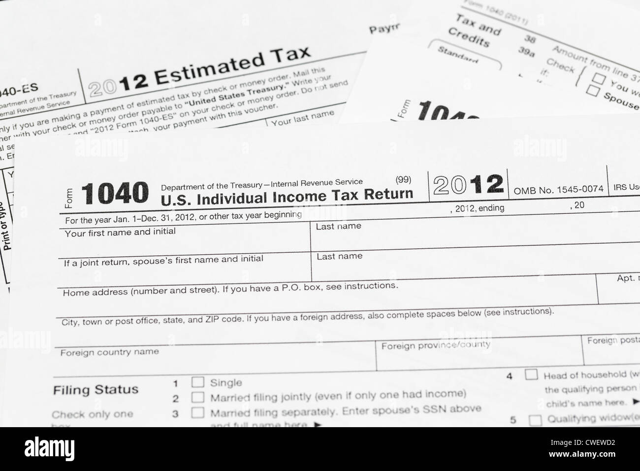 1040 Tax Form Black And White Stock Photos Images Alamy