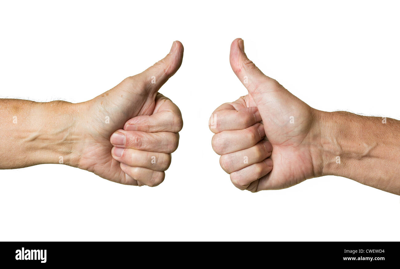 Male left and right hands making thumbs up sign - Stock Image