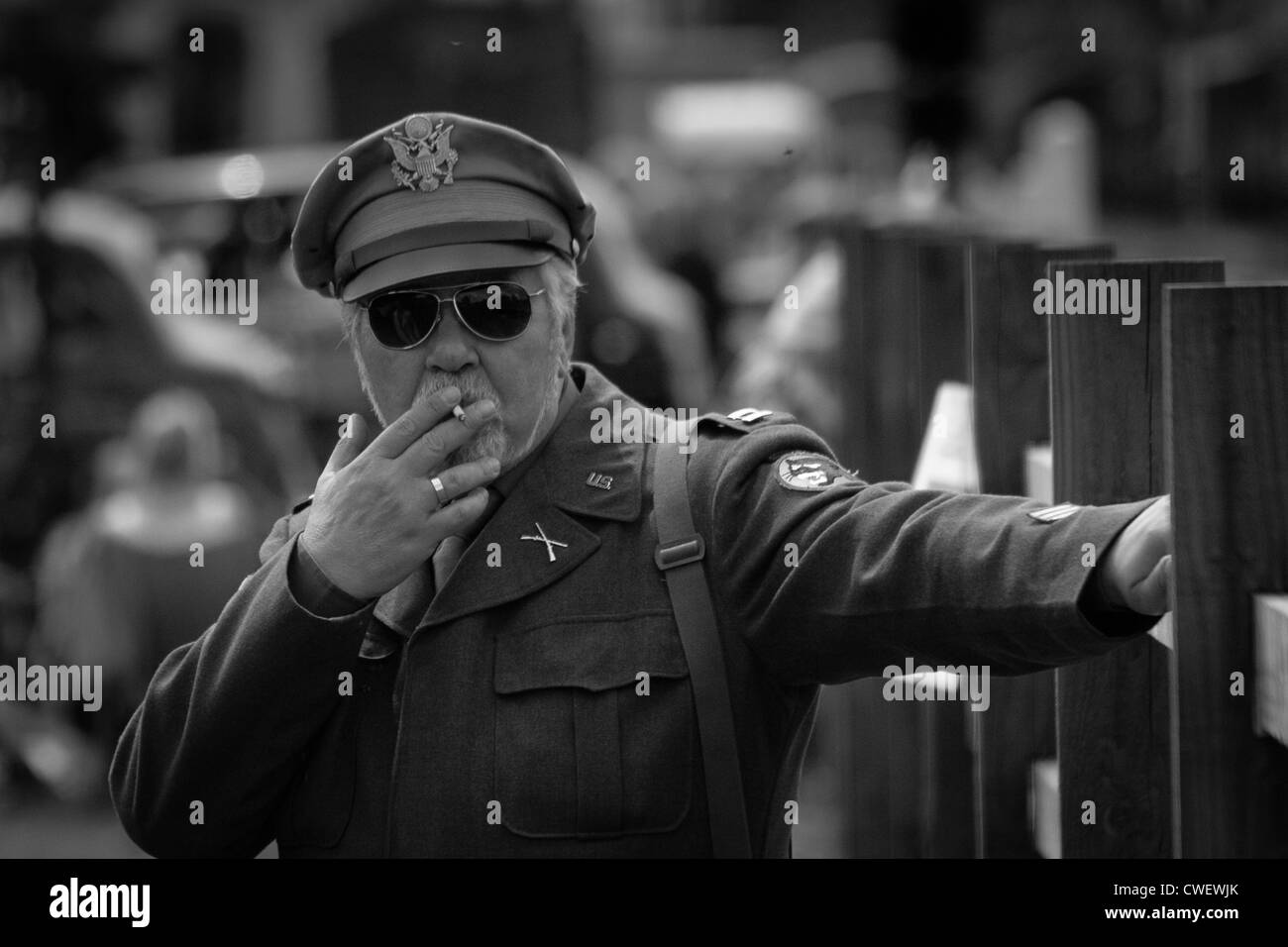 US Army Officer with Cigarette - Stock Image