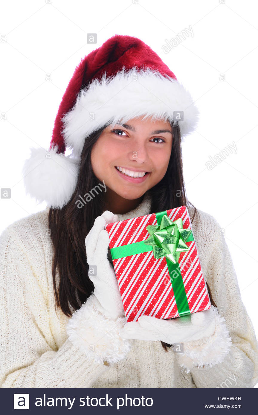 Smiling Young Woman With Christmas Present Vertical Format On A White Background