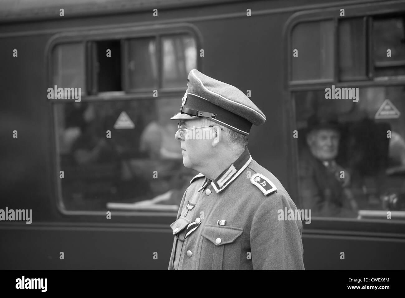 German Army Officer on Railway platform - Stock Image