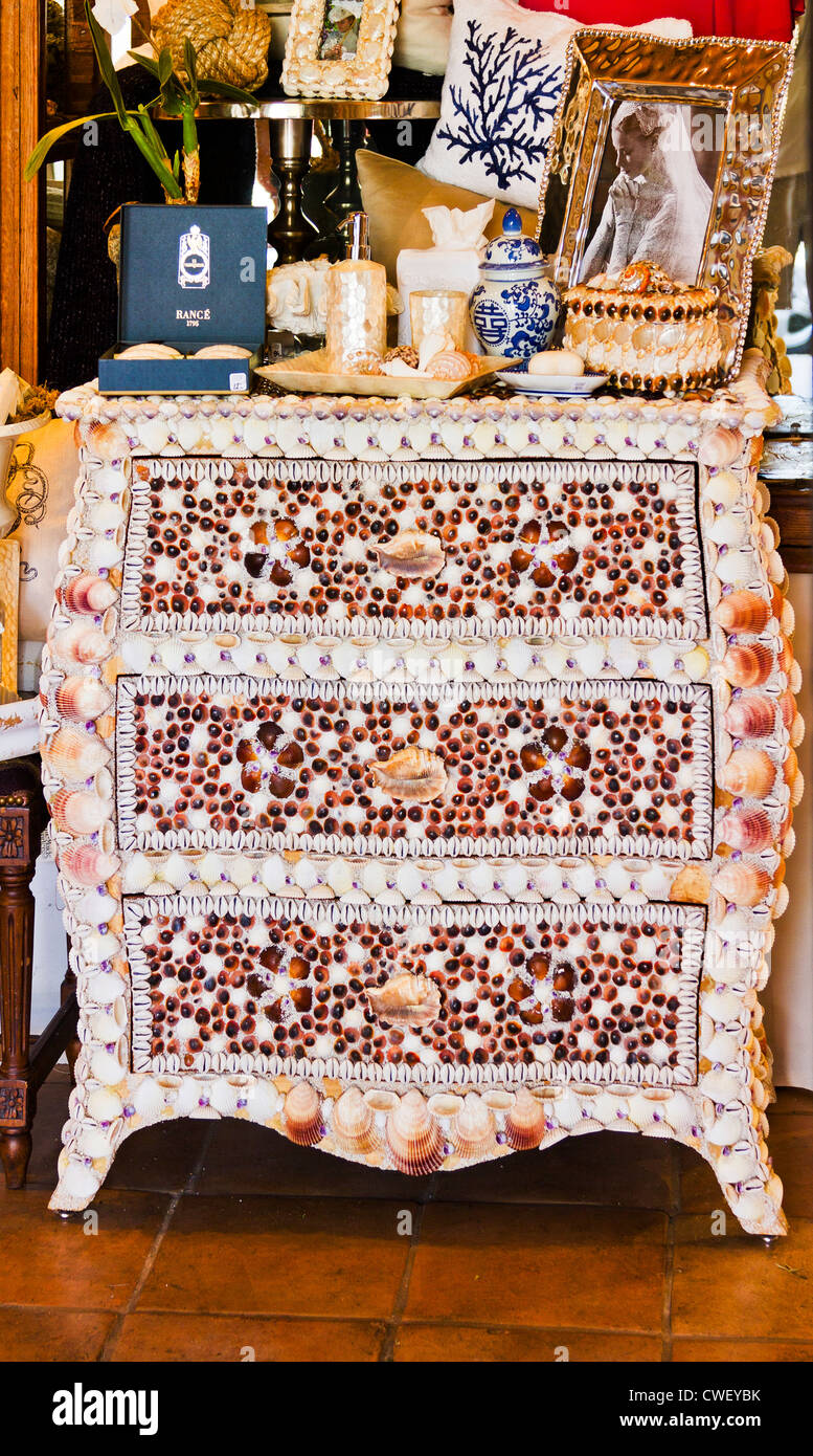 A Chest decorated with seashells in a shop in Los Gatos, California - Stock Image