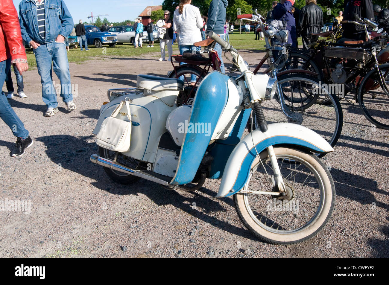 husqvarna scooter motorcycle motorcycles motorbike motorbikes motor bike bikes cycles moped old classic swedish - Stock Image