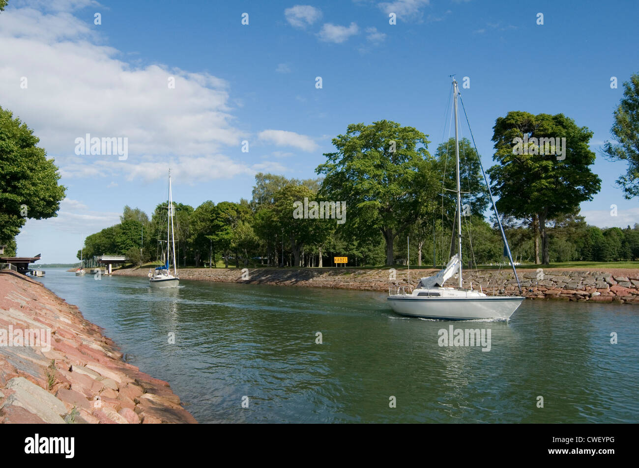 lemstroms kanal canal on aland island islands sweden baltic finland soumi holiday yacht yachting boat boats sailing - Stock Image