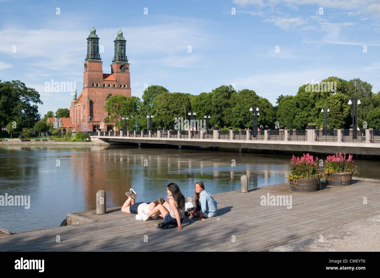 eskilstuna sweden swedish city cities town towns summer time summertime Eskilstunaån river gamla town old - Stock Image
