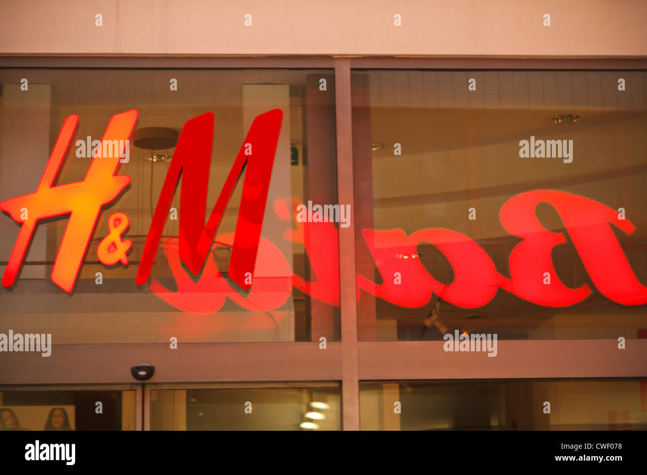 H&M and Bata logo on shop front in Brno, Czech Republic. - Stock Image