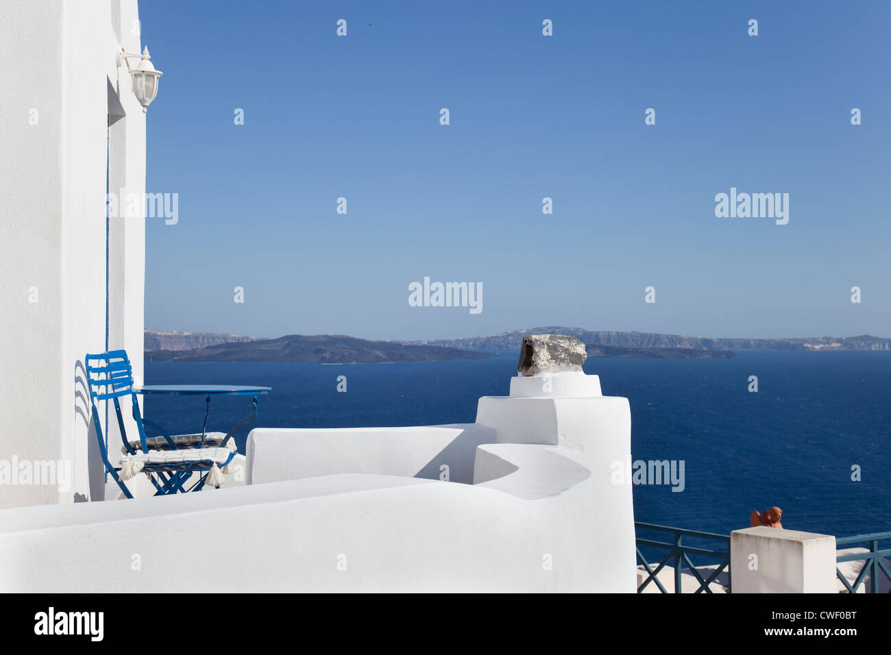 From the ancient city of Oía, Santorini (Thira), Greece. - Stock Image
