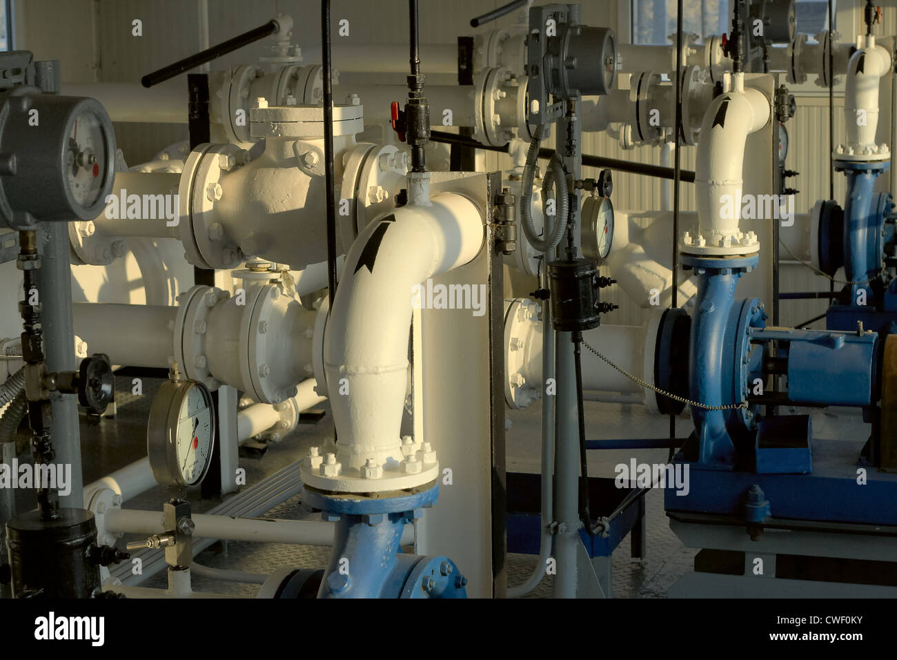 Apparatus, Assembly, Blue, Compression, Condensate, Connection, Control, Drive, Ducts, Engine, Equipment, Faucet, - Stock Image