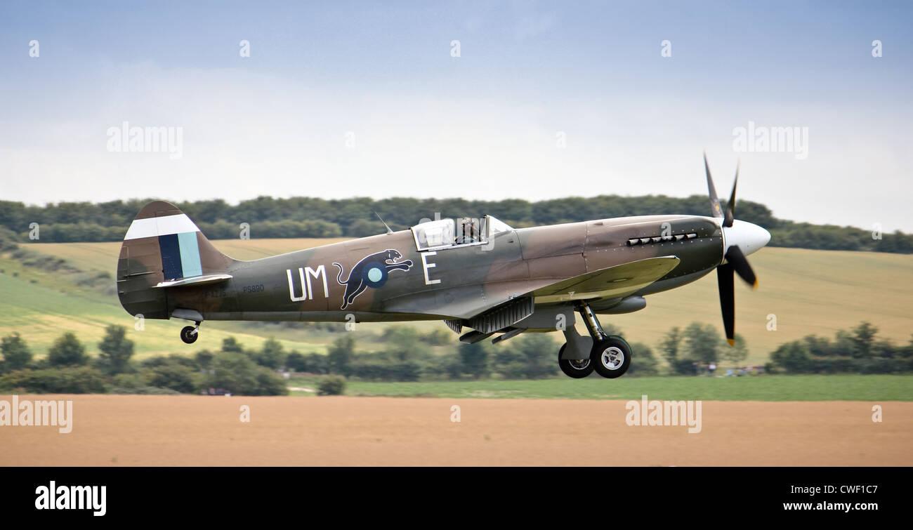 Spitfire taking off or landing - Stock Image