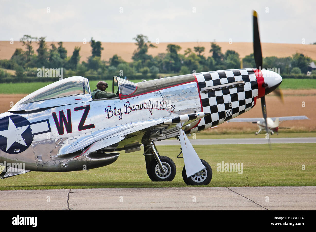 P51 Mustang Big Beautiful Doll taxiing for takeoff - Stock Image