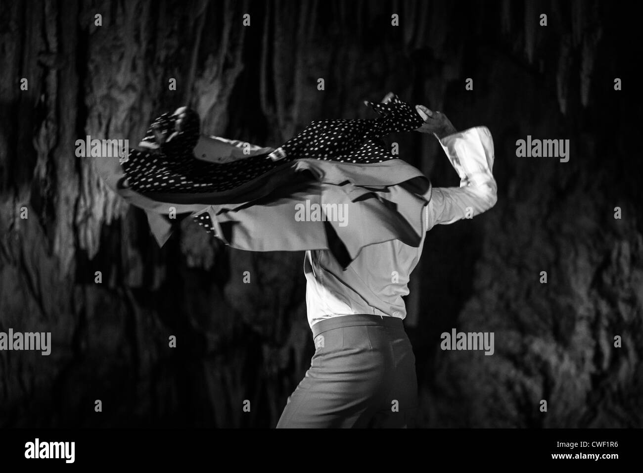 Flamenco dancers from the Antonio El Pipa dance collective put on a show in the Nerja caves in Spain in 2012. - Stock Image