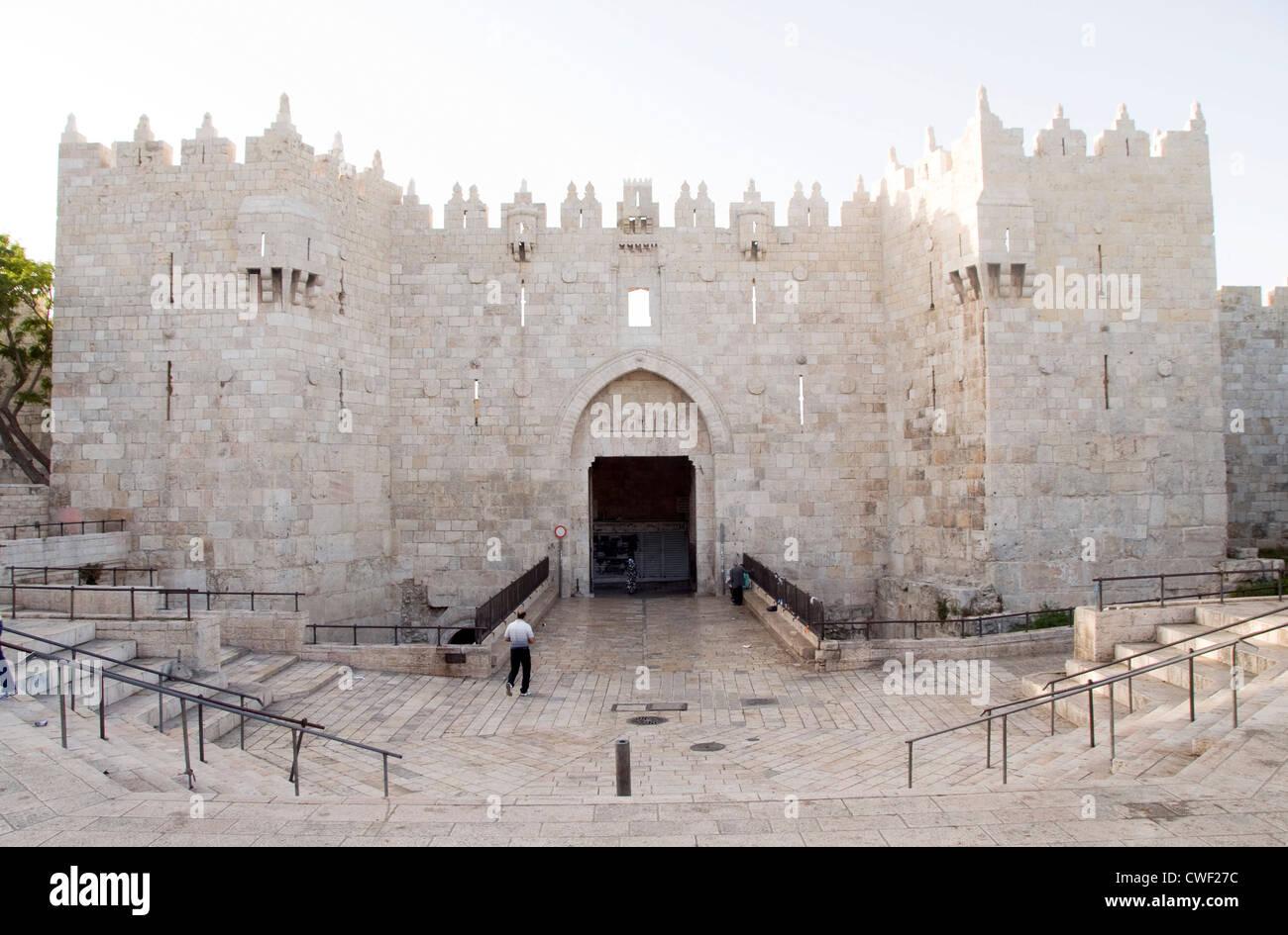 historic Damascus Gate entry to Old City Jerusalem Palestine Israel - Stock Image