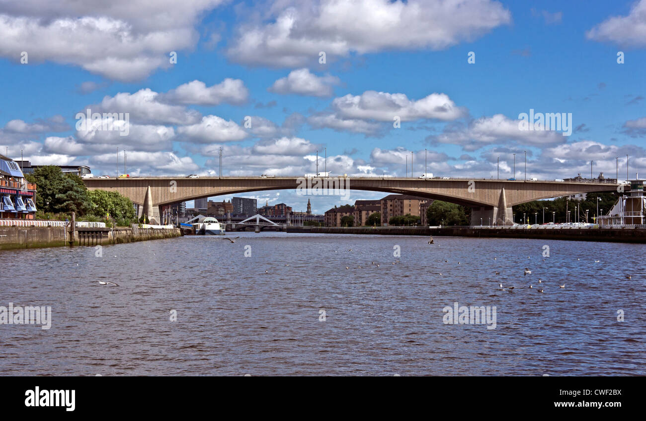 Kingston Bridge carrying the M8 motorway across the River Clyde in Central Glasgow Scotland - Stock Image