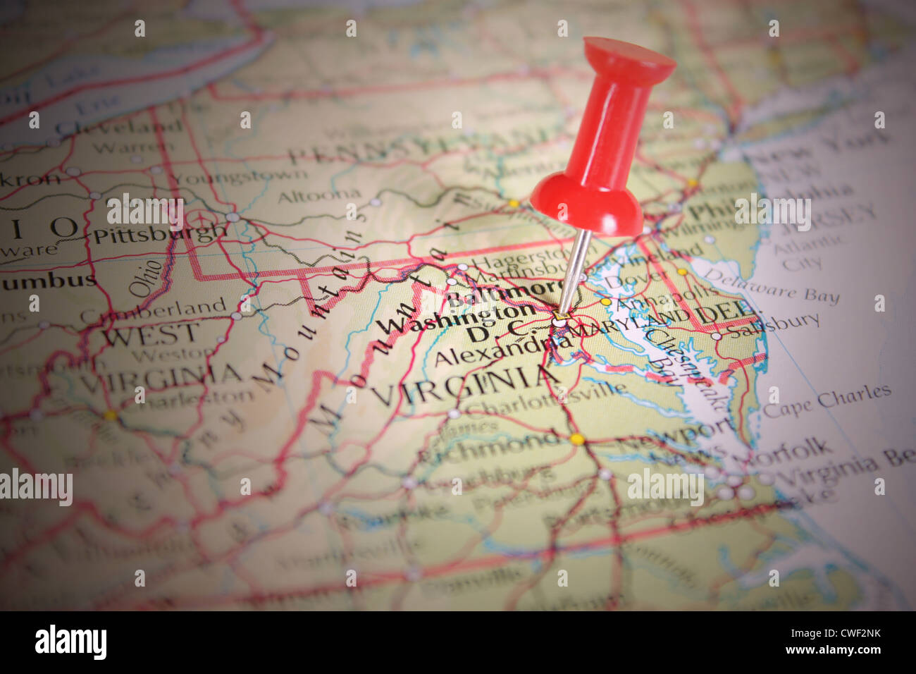 Red pin on a Map of America, Washington D.C Stock Photo ... Map Of America Washington on new york map america, hawaii map america, st. louis map america, indiana map america, idaho map america, kansas map america, north carolina map america, ohio map america,