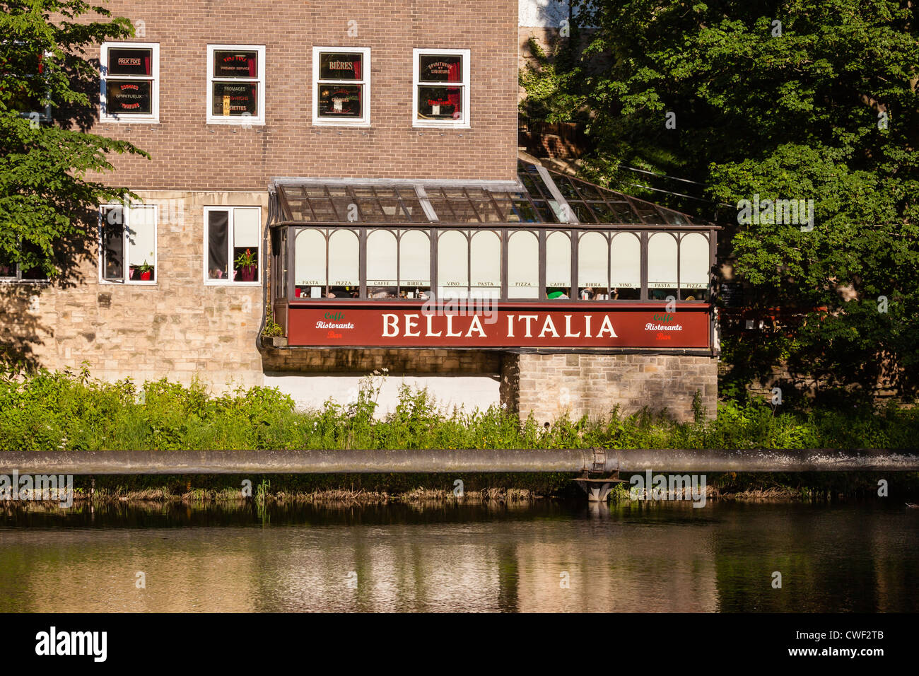 Bella Italia Restaraunt Seen From The Riverside Walk Durham Stock