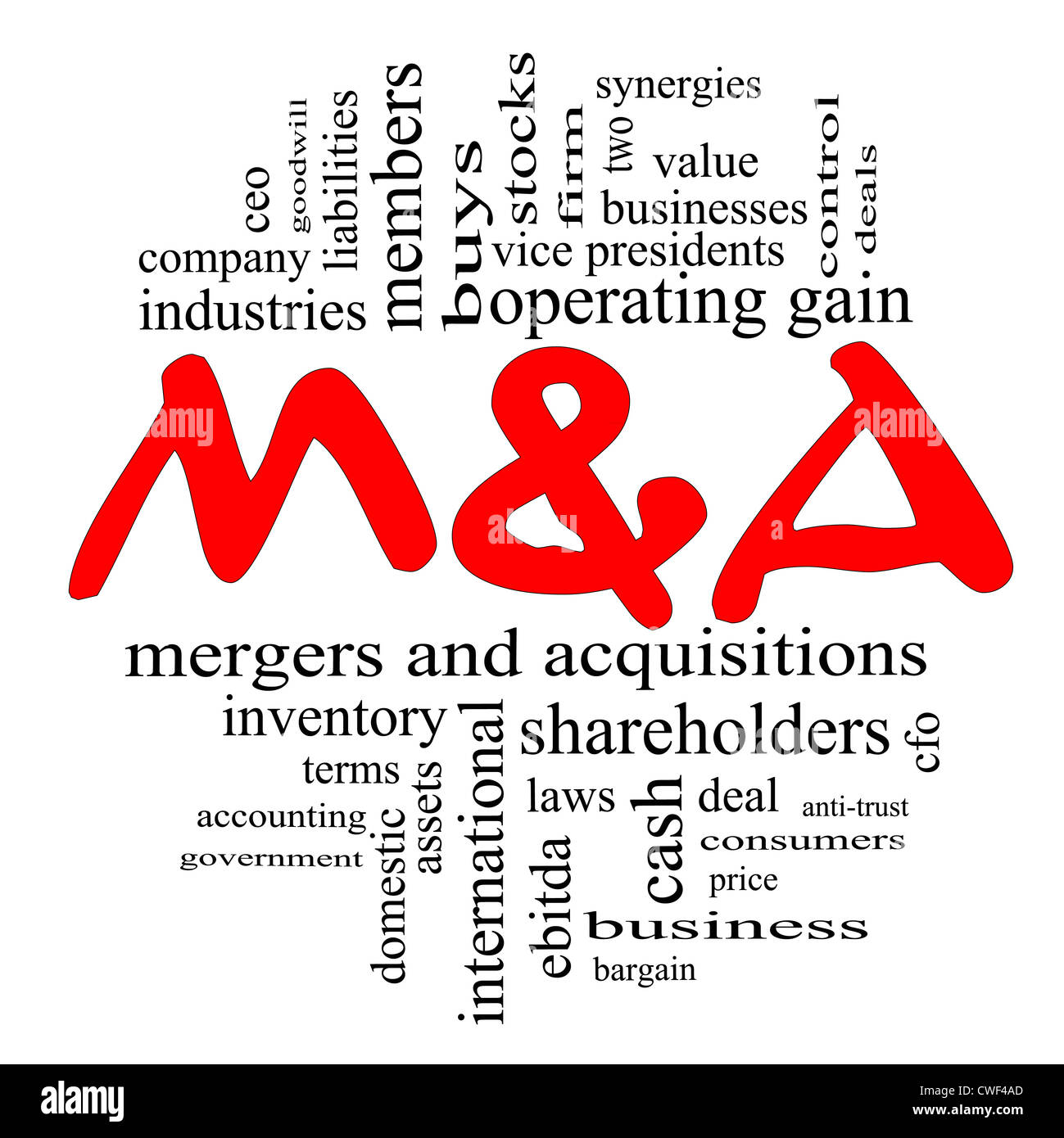 M & A (Mergers and Acquisitions) Word Cloud Concept in Red and Black letters with great terms such as deals, - Stock Image