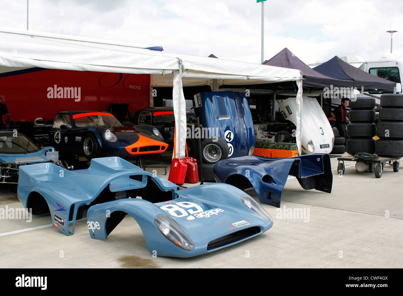Silverstone Classic Car workshop - Stock Image