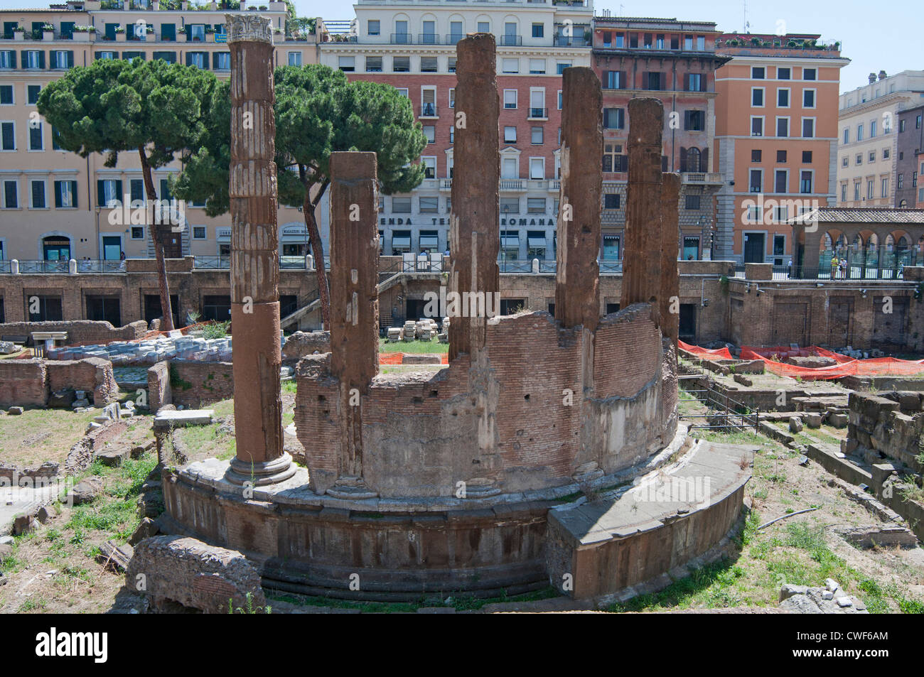 Aedes Fortunae Huiusce in the background of Largo di Torre Argentina which is a square in Rome, Italy - Stock Image
