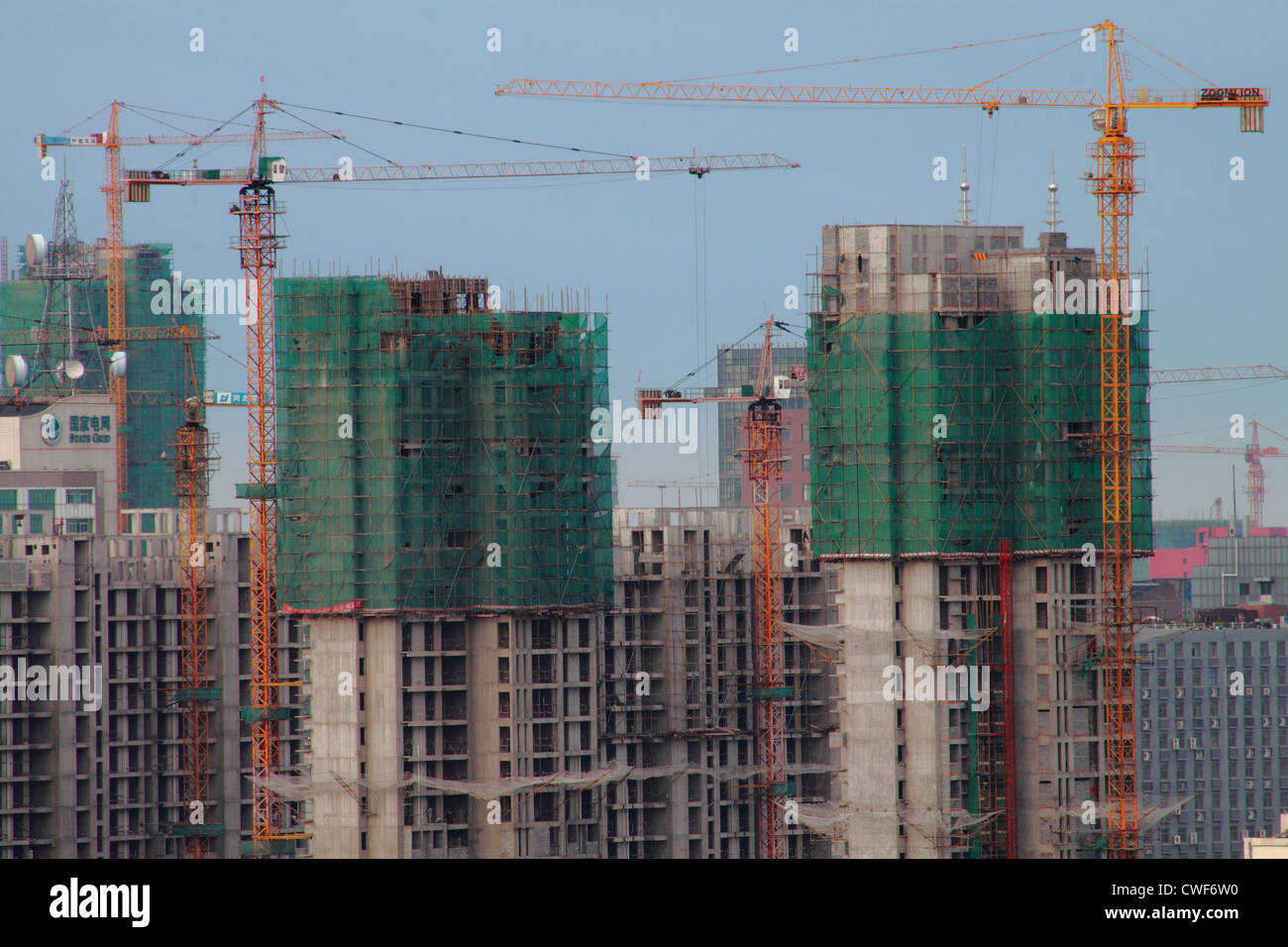 Architecture, construct, building,tower crane - Stock Image
