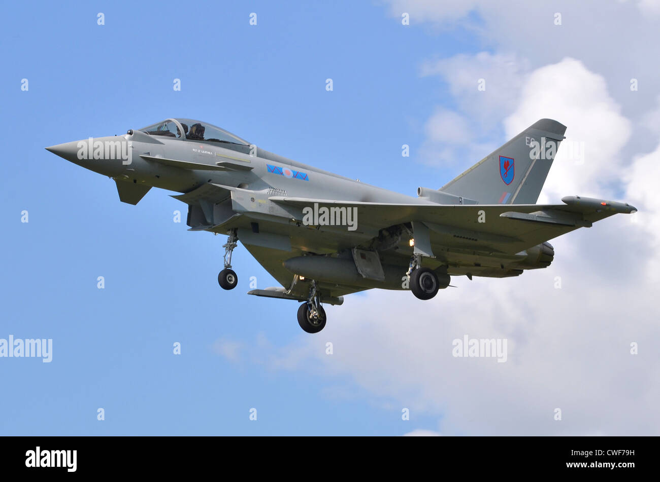 Eurofighter Typhoon FGR4 aircraft operated by the RAF on approach for landing at RAF Fairford - Stock Image