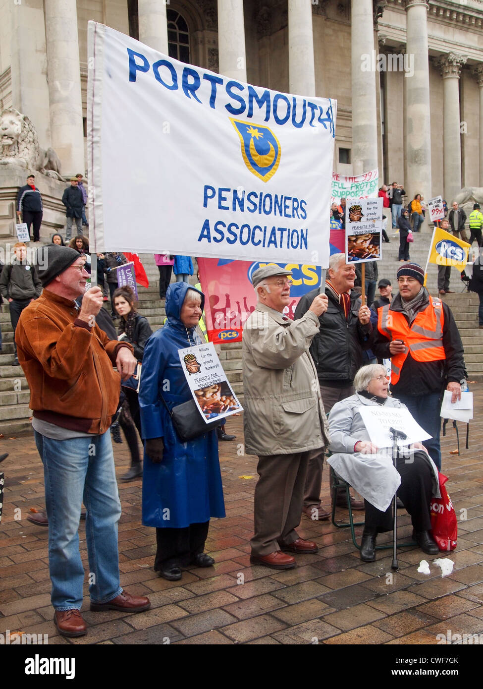 Portsmouth Pensioners Association members protest against public sector pay and pension cuts. - Stock Image