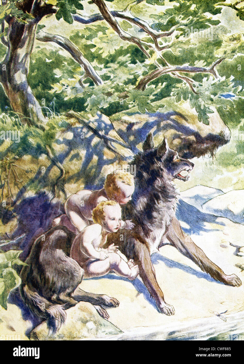 A she-wolf finds and suckles the twin boys Romulus and Remus, as shown here. - Stock Image