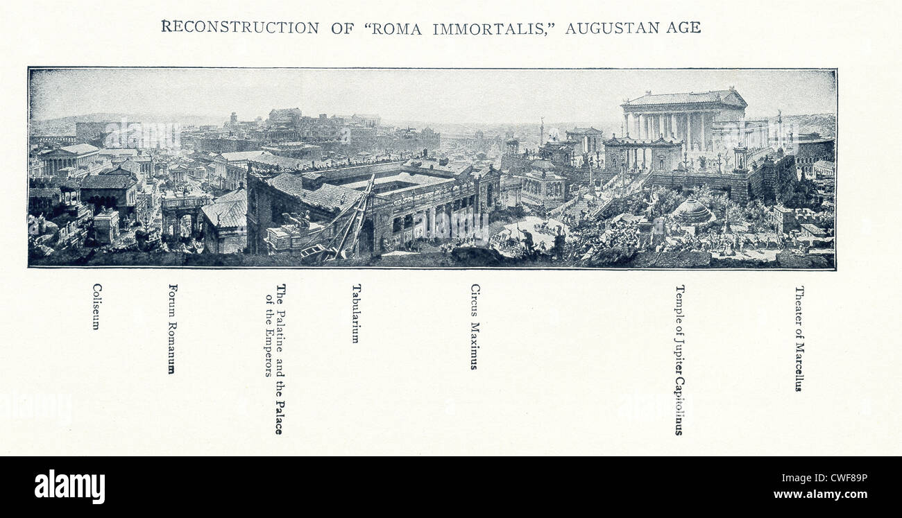 This 1899 illustration depicts Rome in the time of the Emperor Augustus, who ruled from 27 B.C. to A.D. 14. - Stock Image