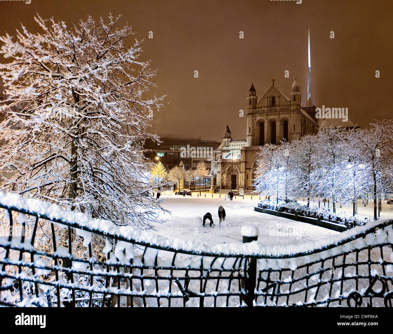 St.Anne's Cathedral in snow, Belfast - Stock Image