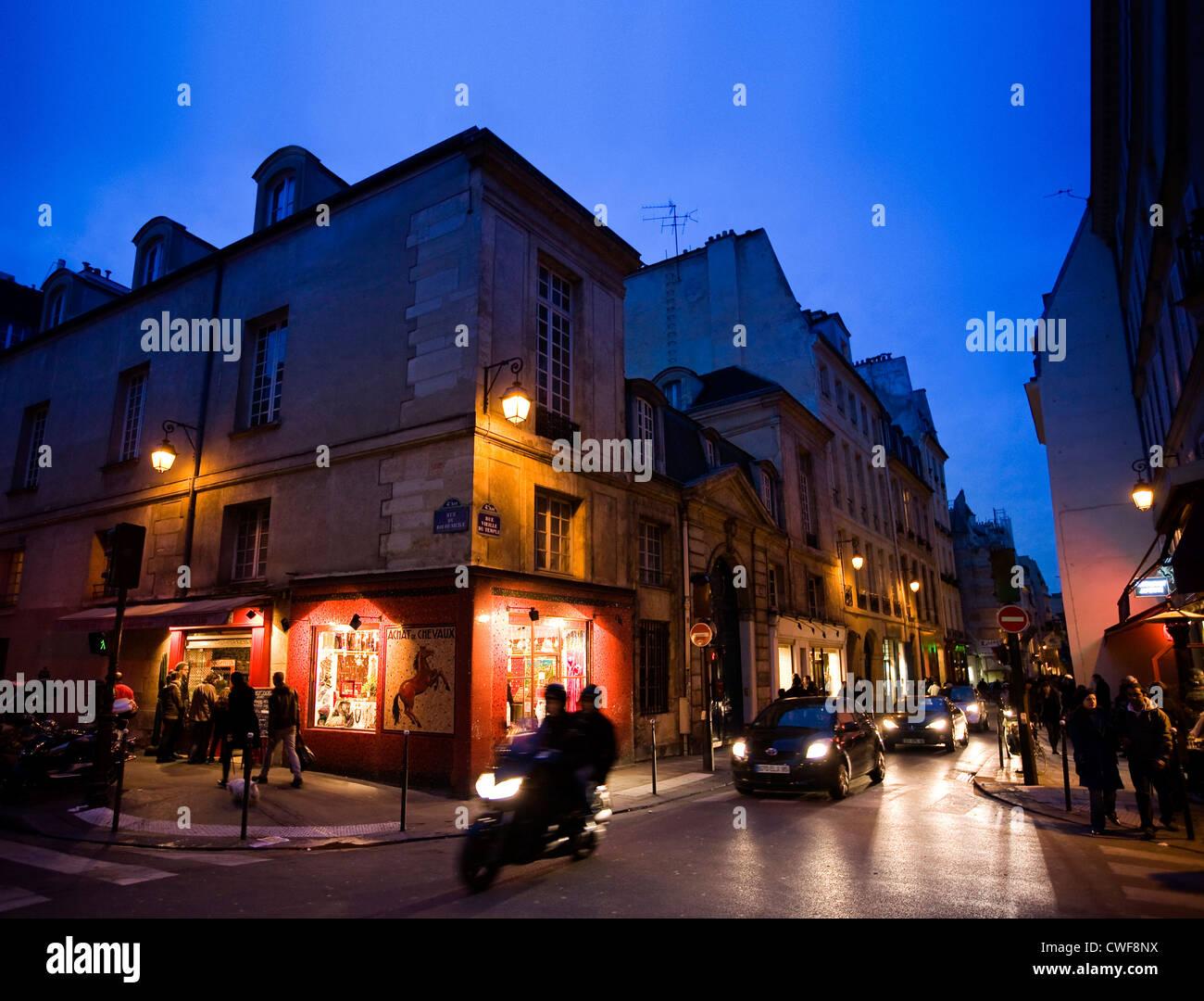 Marais district in Paris - Stock Image