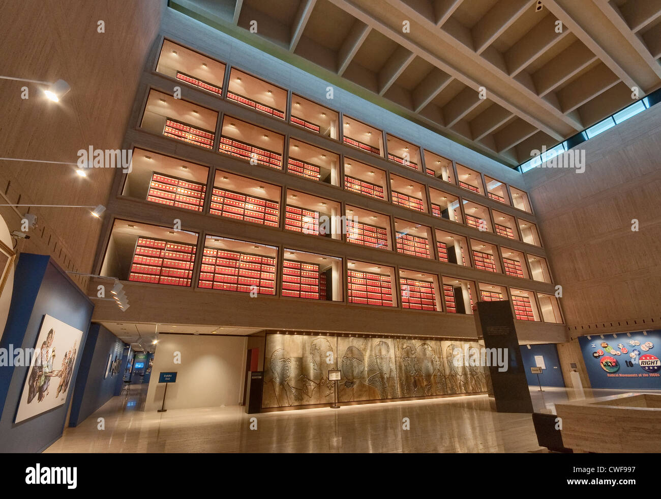 Archives section over Great Hall at Lyndon Baines Johnson Library and Museum (LBJ Library) in Austin, Texas, USA Stock Photo