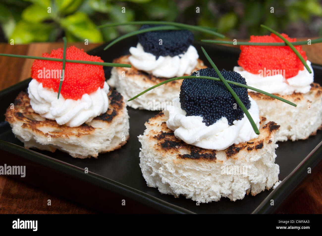 Red and black caviar canapés decorated with chives. Stock Photo