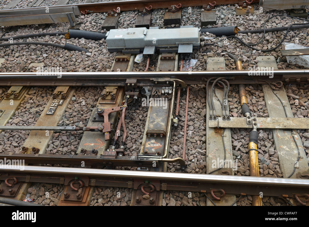 Railway Points at Clapham Junction -1 - Stock Image