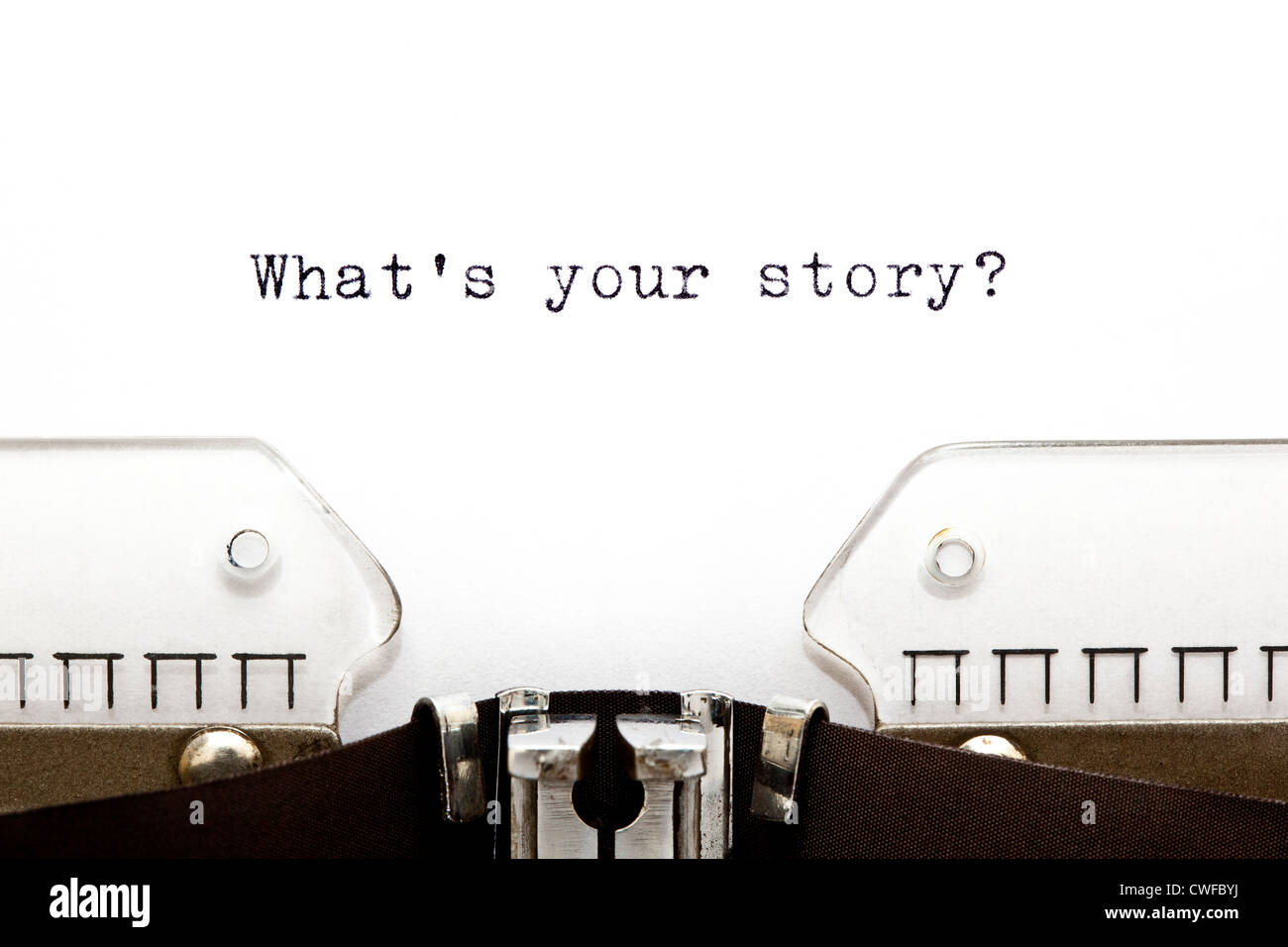 Concept image with What is Your Story printed on an old typewriter - Stock Image