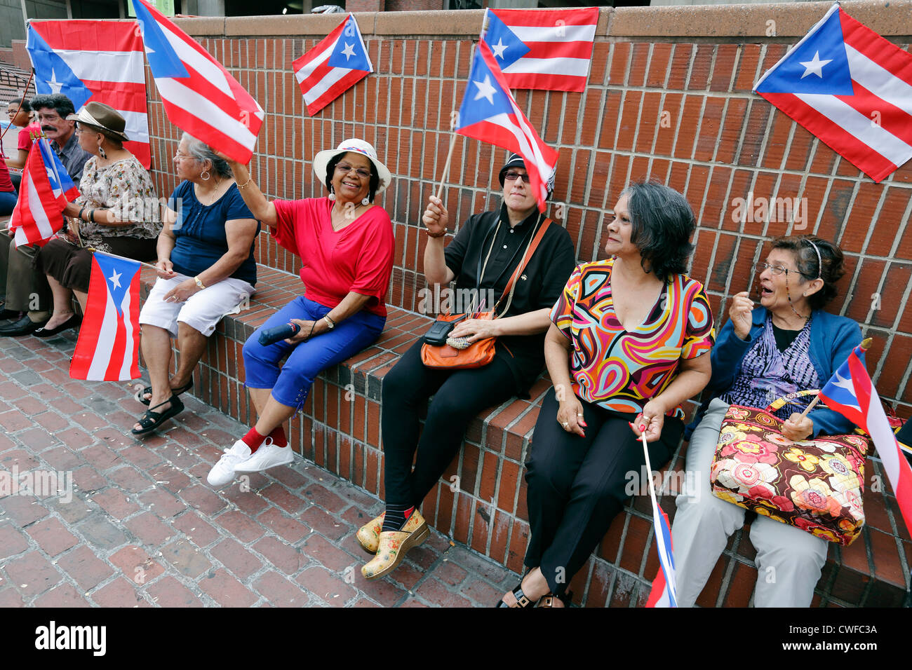 Puerto Rican women during festival on City Hall Plaza, Boston, Massachusetts - Stock Image