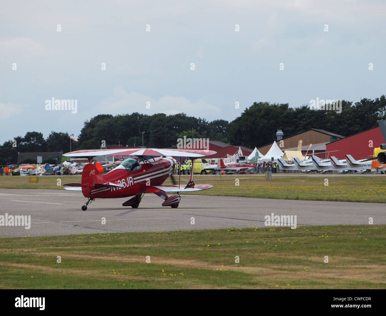 Red Pitts special aeroplane taxiing at Seppe airfield, the Netherlands - Stock Image