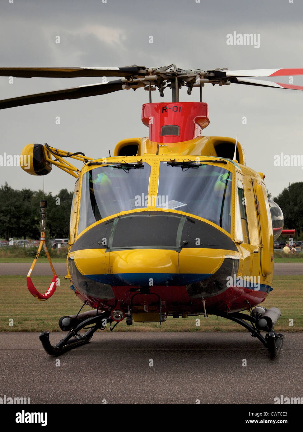 Dutch SAR search and rescue helicopter Agusta Bell 412 SP front view at Seppe airfield, the Netherlands - Stock Image