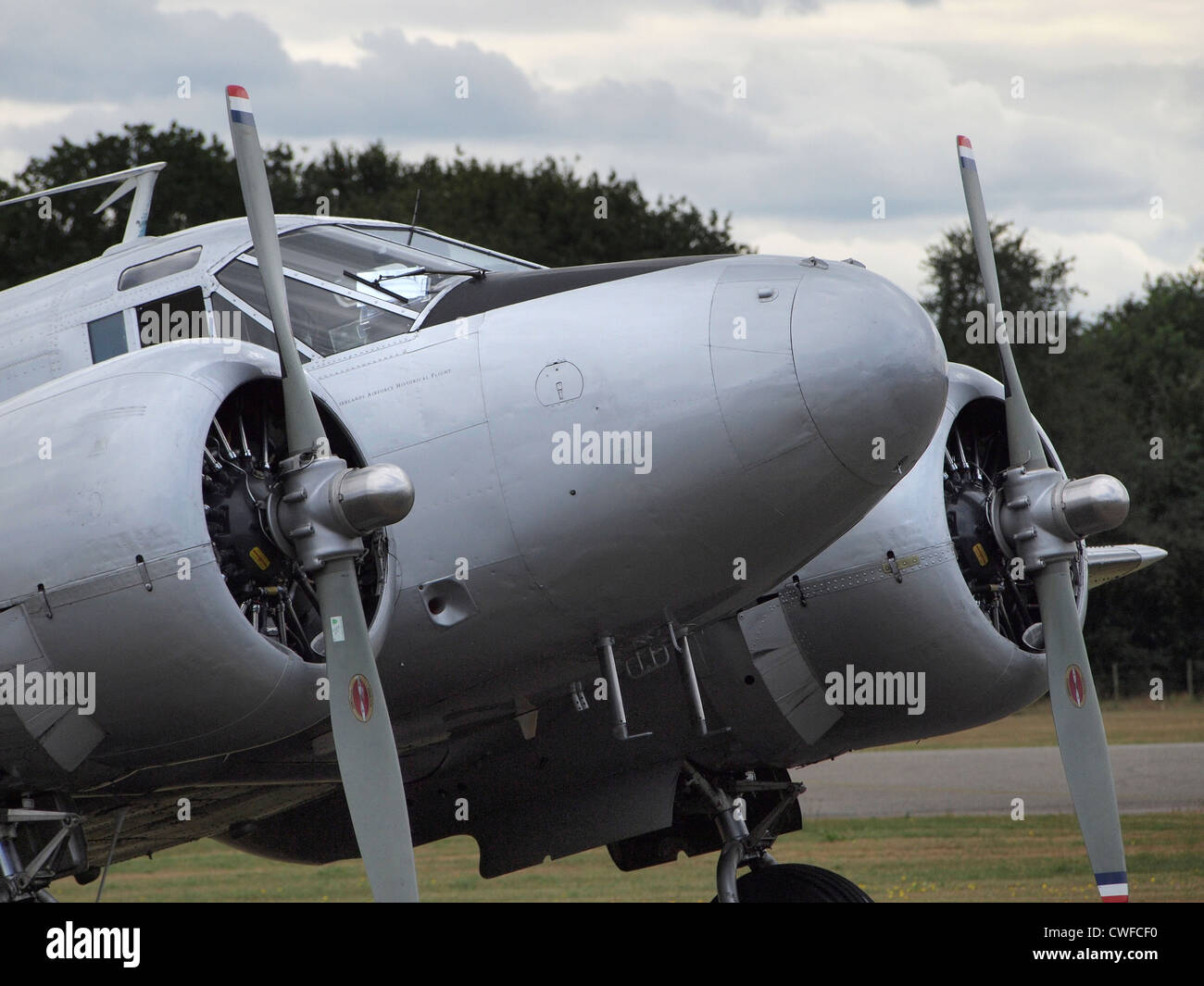 Vintage Beechcraft B18S twin engined aeroplane at Seppe airfield, the Netherlands - Stock Image