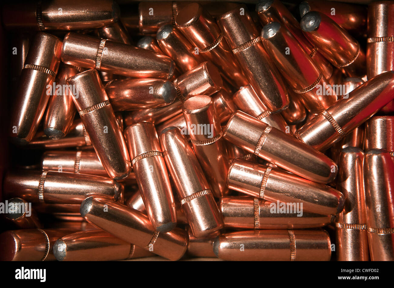 A pile of hunting soft point expanding bullets of .30-06 Springfield caliber - Stock Image