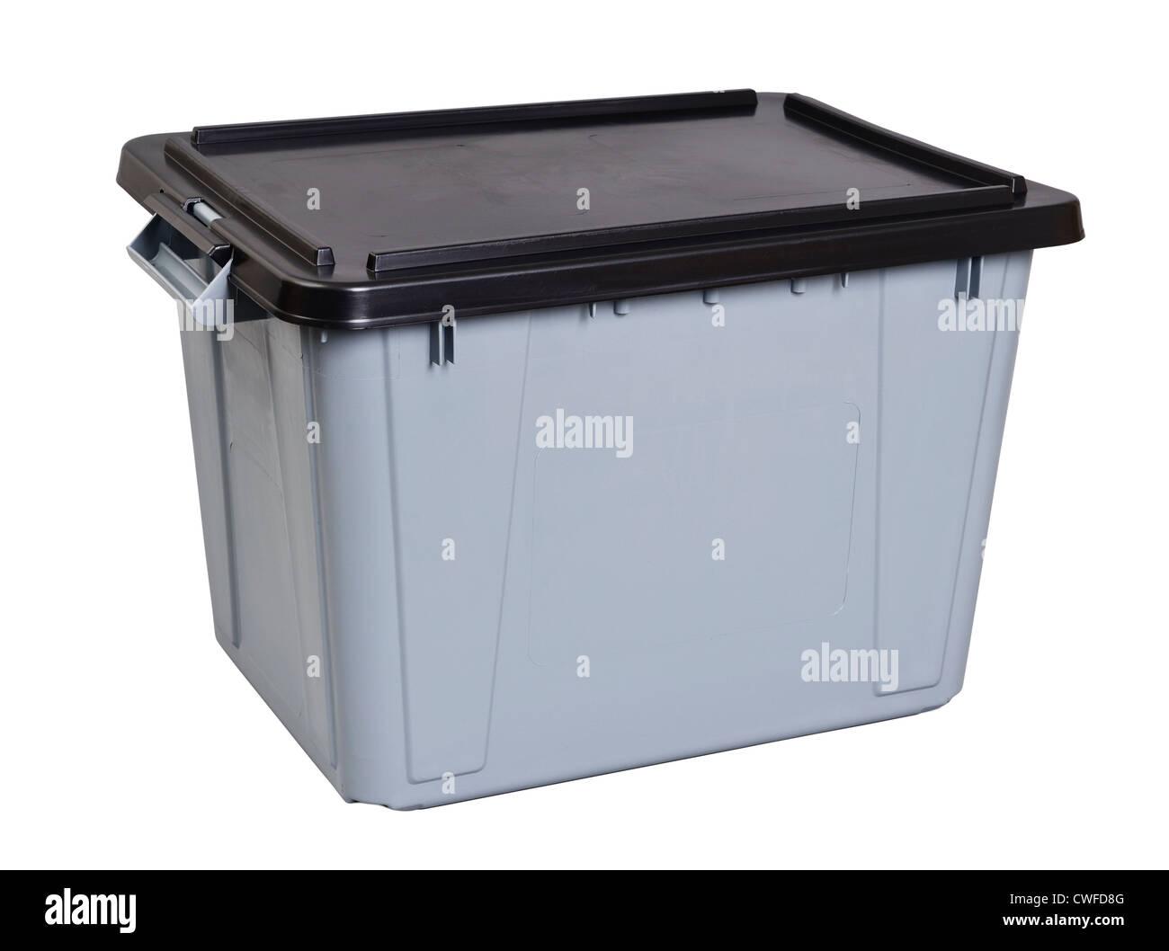 Grey plastic storage box with a black lid - Stock Image