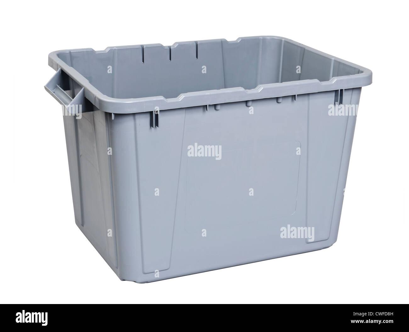 Grey plastic storage box - Stock Image
