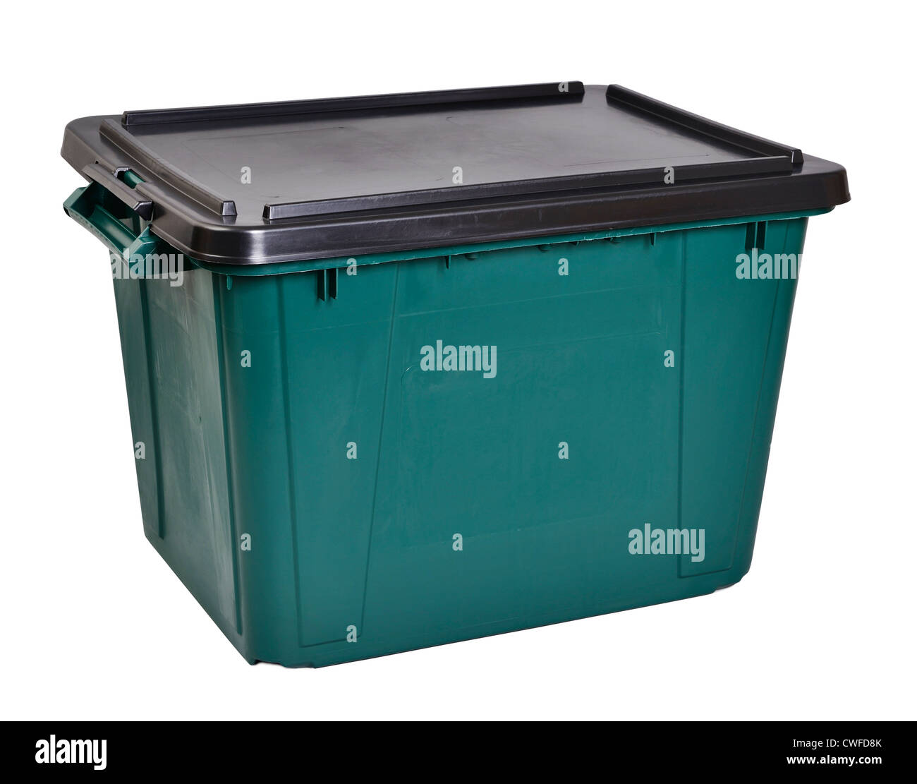 Green plastic storage box with a black lid - Stock Image