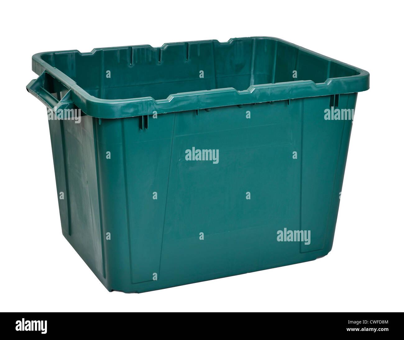 Green plastic storage box - Stock Image
