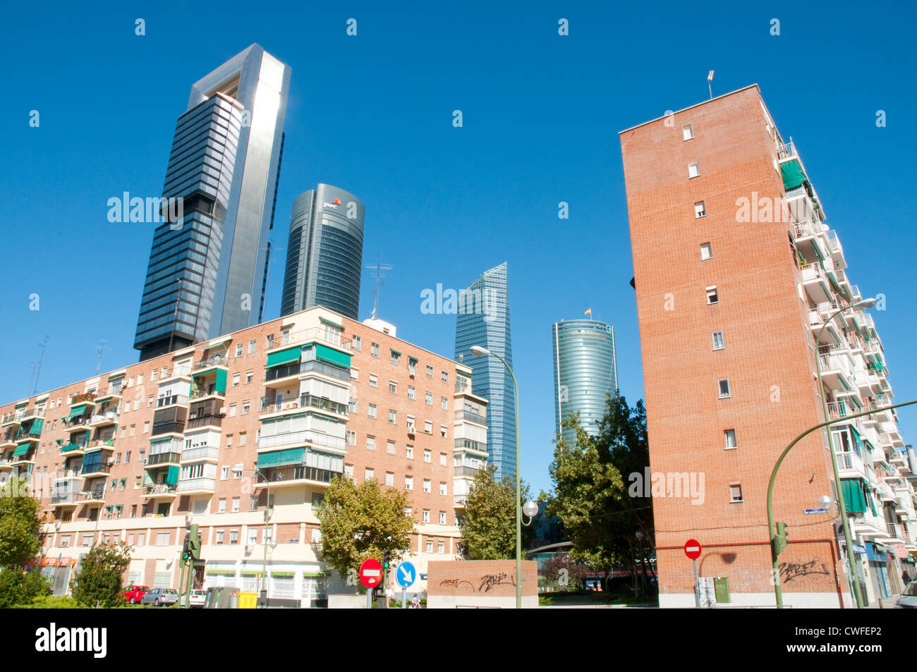 Houses and Cuatro Torres Business Area. Madrid, Spain. - Stock Image