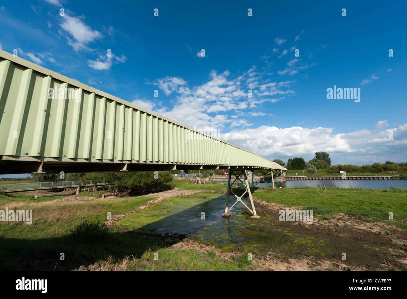 Gravel conveyor belt machinery at the River Great Ouse Cambridgeshire UK - Stock Image