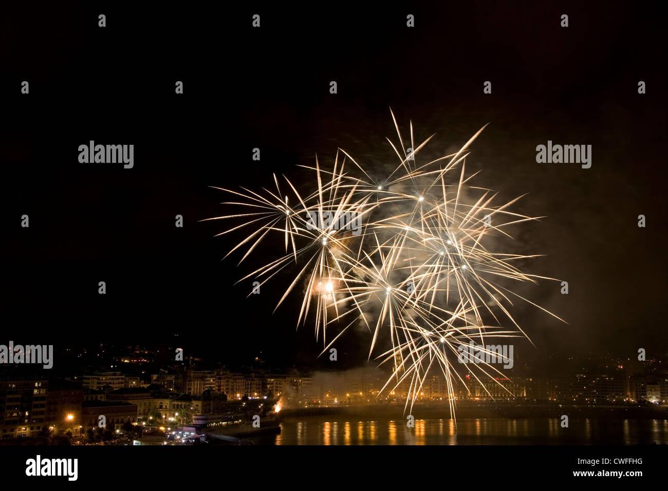 fireworks in San Sebastian / Donostia - Stock Image